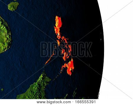 Philippines From Space During Dusk