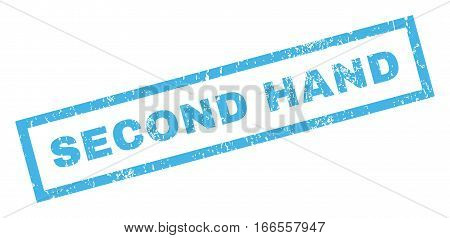 Second Hand text rubber seal stamp watermark. Tag inside rectangular shape with grunge design and dirty texture. Inclined vector blue ink emblem on a white background.