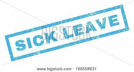 Sick Leave text rubber seal stamp watermark. Tag inside rectangular shape with grunge design and unclean texture. Inclined vector blue ink emblem on a white background.