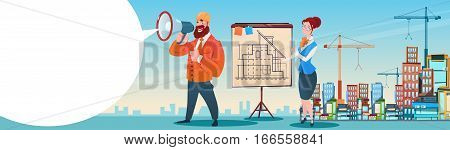 Builder Architect Workers Boss Hold Megaphone Present Architecture Drafting City Building Background Flat Vector Illustration