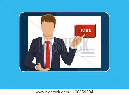 Online learning. E-learning online webinar presentation concept. Tablet computer, teacher businessman, learn button. Flat design illustration for web site, mobile upp