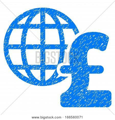 Global Pound Economics grainy textured icon for overlay watermark stamps. Flat symbol with dirty texture. Dotted vector blue ink rubber seal stamp with grunge design on a white background.