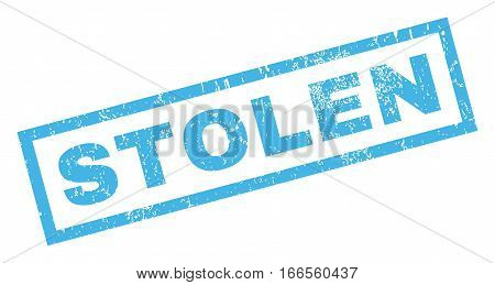Stolen text rubber seal stamp watermark. Caption inside rectangular shape with grunge design and unclean texture. Inclined vector blue ink emblem on a white background.