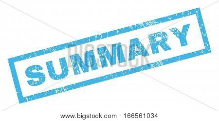 Summary text rubber seal stamp watermark. Caption inside rectangular banner with grunge design and dirty texture. Inclined vector blue ink sticker on a white background.