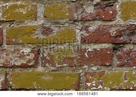 Chipping Yellow Painted Red Brick Wall Texture