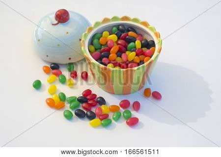 Novelty candy bowl shaped like ice cream open with jelly beans