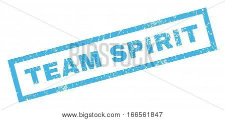 Team Spirit text rubber seal stamp watermark. Tag inside rectangular shape with grunge design and scratched texture. Inclined vector blue ink sign on a white background.