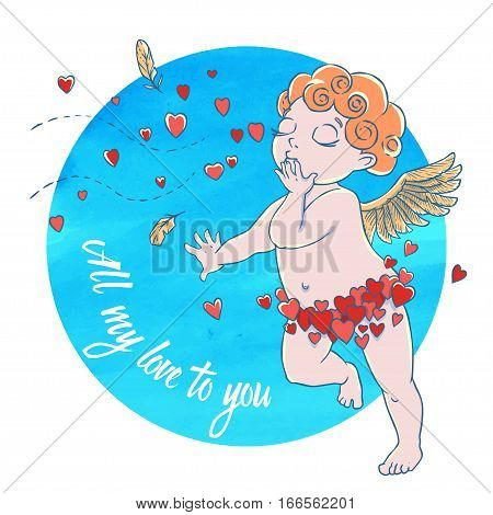 Valentine's day. Cupid-boy in heart pants and blowing kisses and hearts on watercolor circle. Vector illustration isolated on white background. Card. T-shirt print.