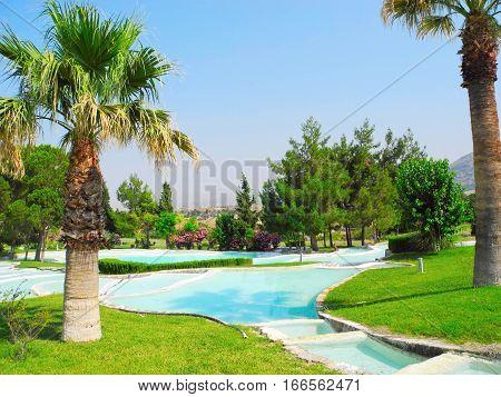 Summer landscape of beautiful Pamukkale travertines Turkey.