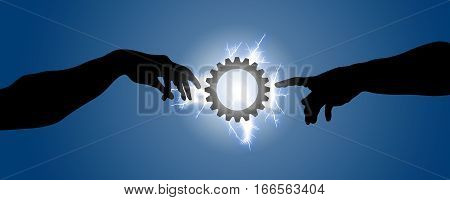 Two hands go toward a gear illuminated with lightning. Concept of creation and universal judgment that regulates the mechanisms of human beings and the cosmos.