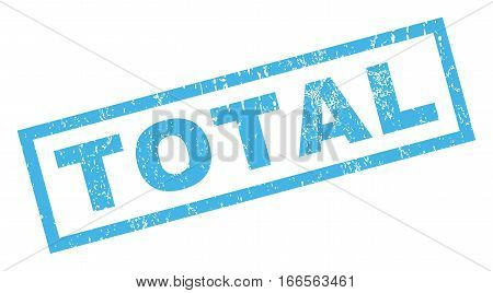 Total text rubber seal stamp watermark. Caption inside rectangular shape with grunge design and scratched texture. Inclined vector blue ink sign on a white background.