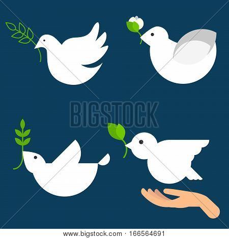 Peace dove vector icon set. White doves with leaves. Bird illustration with supporting hand for international day of peace posters.