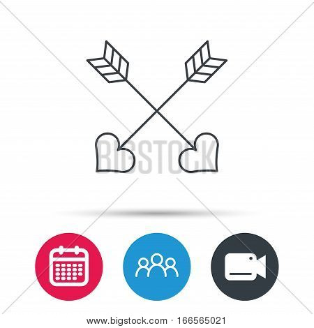 Love arrows icon. Amour equipment sign. Archer weapon with hearts symbol. Group of people, video cam and calendar icons. Vector