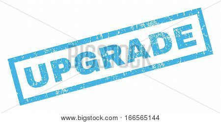 Upgrade text rubber seal stamp watermark. Tag inside rectangular banner with grunge design and dirty texture. Inclined vector blue ink sign on a white background.