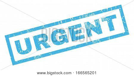 Urgent text rubber seal stamp watermark. Caption inside rectangular banner with grunge design and dirty texture. Inclined vector blue ink sign on a white background.