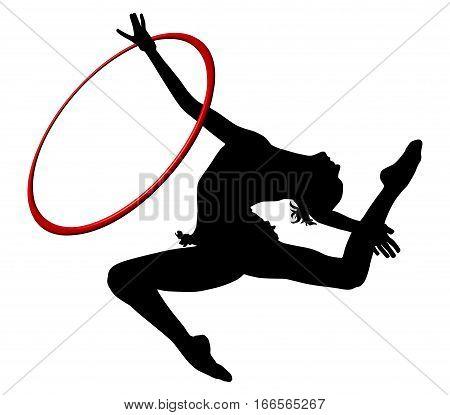 Gymnastics woman silhouette. Rhythmic gymnastics with ring. Gymnast woman flying in split. White background
