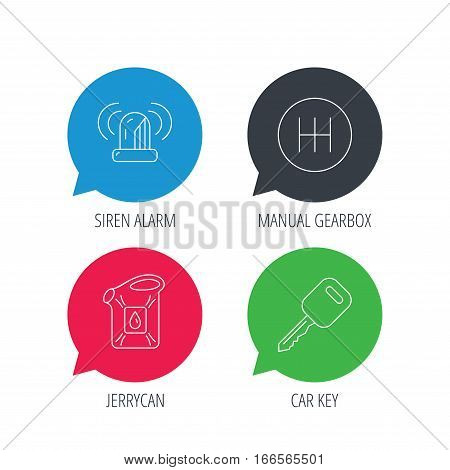 Colored speech bubbles. Manual gearbox, jerrycan and car key icons. Siren alarm, fuel jerrycan linear signs. Flat web buttons with linear icons. Vector