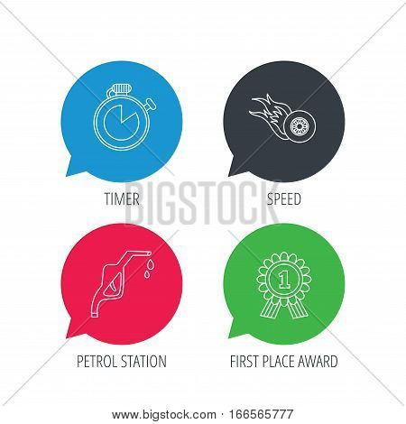 Colored speech bubbles. Winner award, petrol station and speed icons. Race timer linear sign. Flat web buttons with linear icons. Vector
