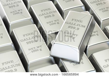 gallium ingots background 3D rendering isolated on white background poster