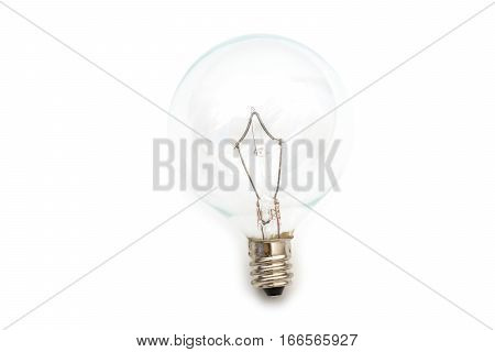 Clear small base specialty lightbulb with round head isolated on white