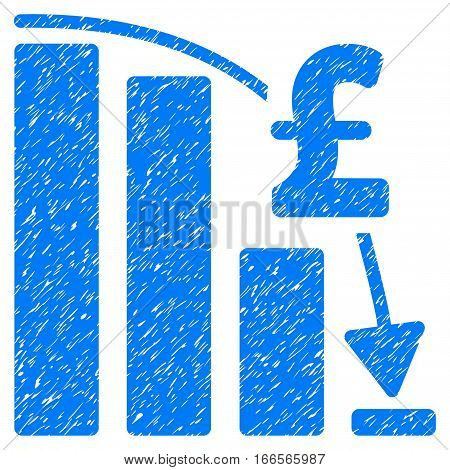 Pound Financial Epic Fail grainy textured icon for overlay watermark stamps. Flat symbol with dirty texture. Dotted vector blue ink rubber seal stamp with grunge design on a white background.