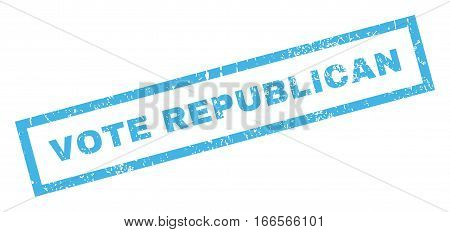 Vote Republican text rubber seal stamp watermark. Tag inside rectangular banner with grunge design and unclean texture. Inclined vector blue ink emblem on a white background.