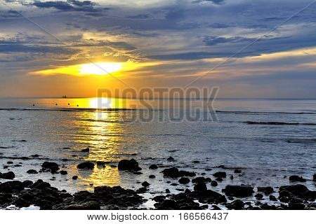 Sun dawn morning and shadow on Thung Wua Lan Beach at Chumphon Province Thailand.