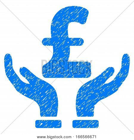 Pound Insurance Hands grainy textured icon for overlay watermark stamps. Flat symbol with unclean texture. Dotted vector blue ink rubber seal stamp with grunge design on a white background.