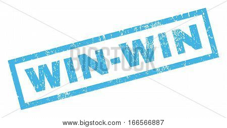 Win-Win text rubber seal stamp watermark. Tag inside rectangular shape with grunge design and dust texture. Inclined vector blue ink sticker on a white background.