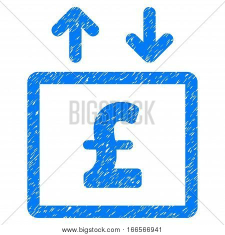 Pound Money Elevator grainy textured icon for overlay watermark stamps. Flat symbol with dirty texture. Dotted vector blue ink rubber seal stamp with grunge design on a white background.