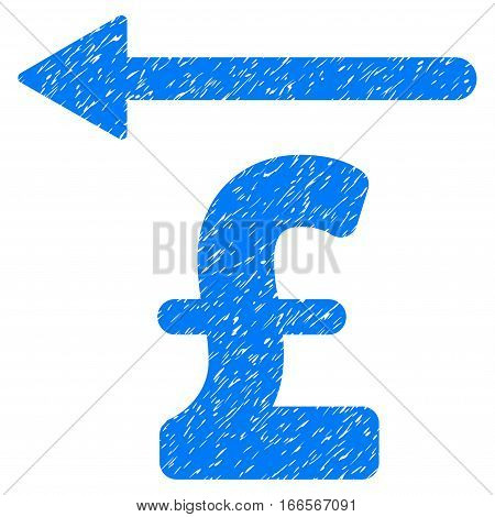 Pound Moneyback grainy textured icon for overlay watermark stamps. Flat symbol with dust texture. Dotted vector blue ink rubber seal stamp with grunge design on a white background.