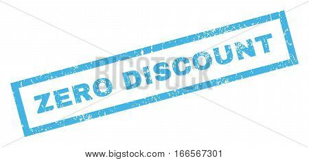 Zero Discount text rubber seal stamp watermark. Caption inside rectangular shape with grunge design and scratched texture. Inclined vector blue ink sign on a white background.