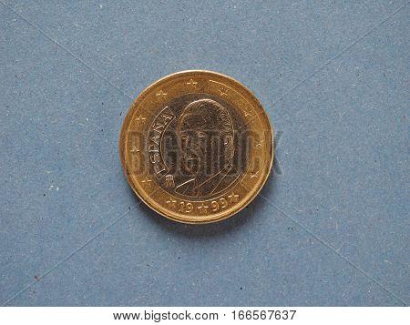 1 Euro Coin, European Union, Spain Over Blue