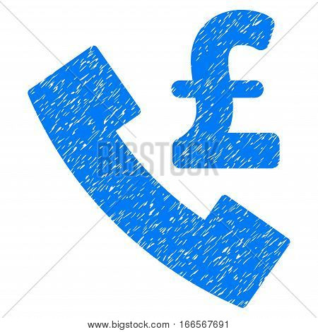 Pound Payphone grainy textured icon for overlay watermark stamps. Flat symbol with scratched texture. Dotted vector blue ink rubber seal stamp with grunge design on a white background.