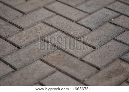 Herringbone Brown Stone Tile Walkway Closeup Texture