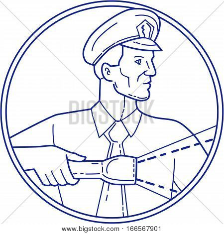 Mono line style illustration of a policeman security guard police officer holding flashlight torch looking to the side viewed from front set inside circle on isolated background.