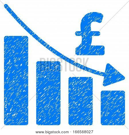 Pound Recession Bar Chart grainy textured icon for overlay watermark stamps. Flat symbol with unclean texture. Dotted vector blue ink rubber seal stamp with grunge design on a white background.