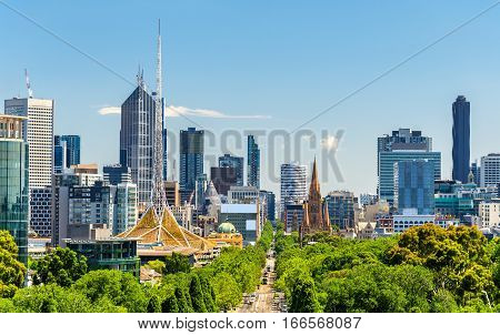 Skyline of Melbourne from Shrine of Remembrance - Australia