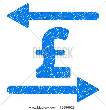 Pound Transactions grainy textured icon for overlay watermark stamps. Flat symbol with unclean texture. Dotted vector blue ink rubber seal stamp with grunge design on a white background.