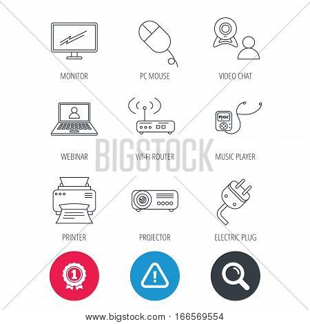 Achievement and search magnifier signs. Printer, wi-fi router and projector icons. Monitor, video chat and webinar linear signs. Electric plug, pc mouse and music player icons. Hazard attention icon