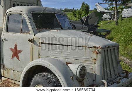 View of old Soviet military vehicle abandoned