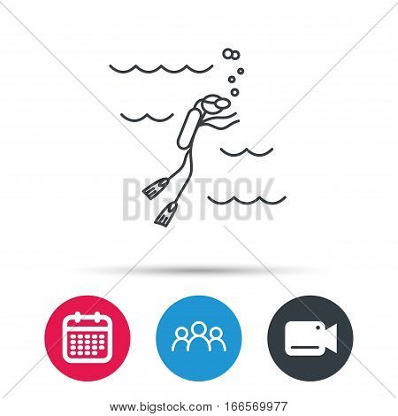 Diving icon. Swimming underwater with tube sign. Scuba diving symbol. Group of people, video cam and calendar icons. Vector