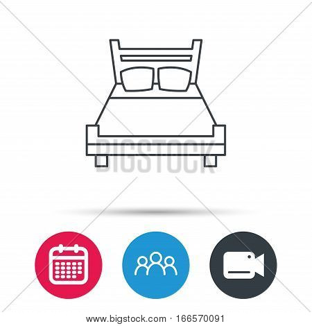 Double bed icon. Sleep symbol. Group of people, video cam and calendar icons. Vector