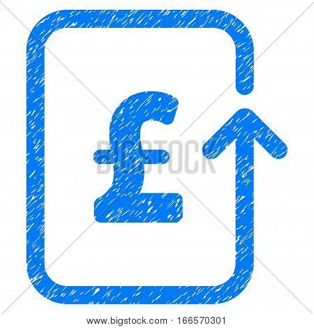 Reverse Pound Transaction grainy textured icon for overlay watermark stamps. Flat symbol with unclean texture. Dotted vector blue ink rubber seal stamp with grunge design on a white background.
