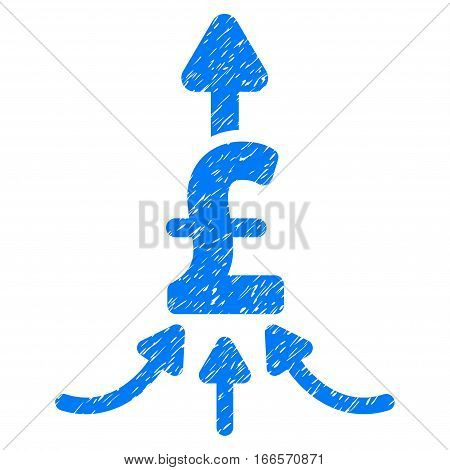 Unite Pound Payments grainy textured icon for overlay watermark stamps. Flat symbol with dirty texture. Dotted vector blue ink rubber seal stamp with grunge design on a white background.