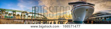 San Pedro California Marina and ship at Sunrise