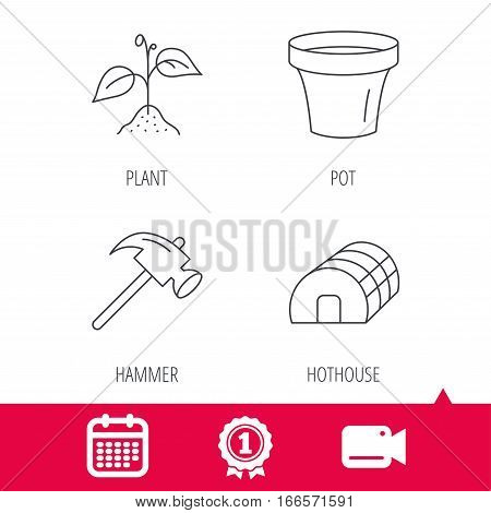 Achievement and video cam signs. Sprout plant, hammer and pot icons. Hothouse linear sign. Calendar icon. Vector