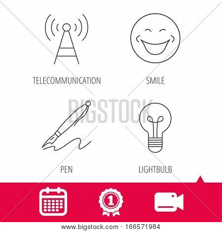 Achievement and video cam signs. Pen, telecommunication and lightbulb icons. Smiling face linear sign. Calendar icon. Vector