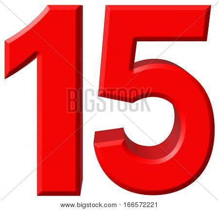 Numeral 15, Fifteen, Isolated On White Background, 3D Render