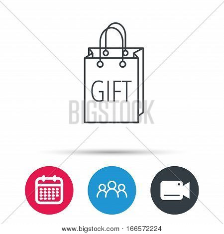 Gift shopping bag icon. Present handbag sign. Group of people, video cam and calendar icons. Vector